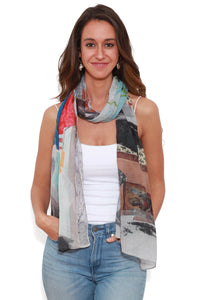 The Artists Label Collage Dream Scarf by Maria Makarov - Silk Chiffon | Buy Online at Weekends