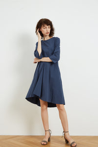 Tirelli Pleated Line Dress - Navy | Buy Online at Weekends