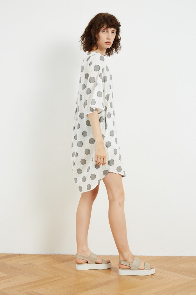Tirelli Simple Printed Tunic - White Dot | Buy Online at Weekends
