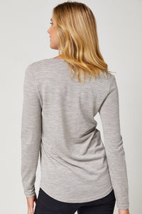 Toorallie Scooped-Hem Merino Top - Grey Marl | Buy Online at Weekends
