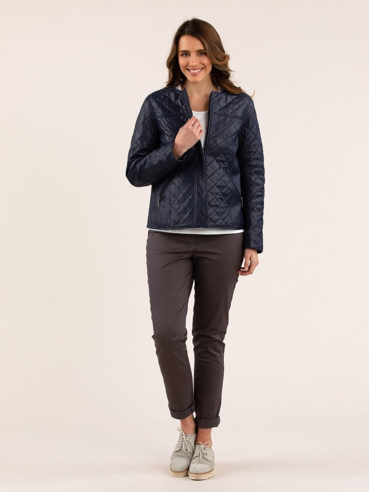 Yarra Trail Quilted Leather Jacket - Sapphire | Buy Online at Weekends