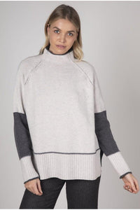 Block Colour Funnel Neck Knit from Zaket & Plover - Weekends on 2nd Ave