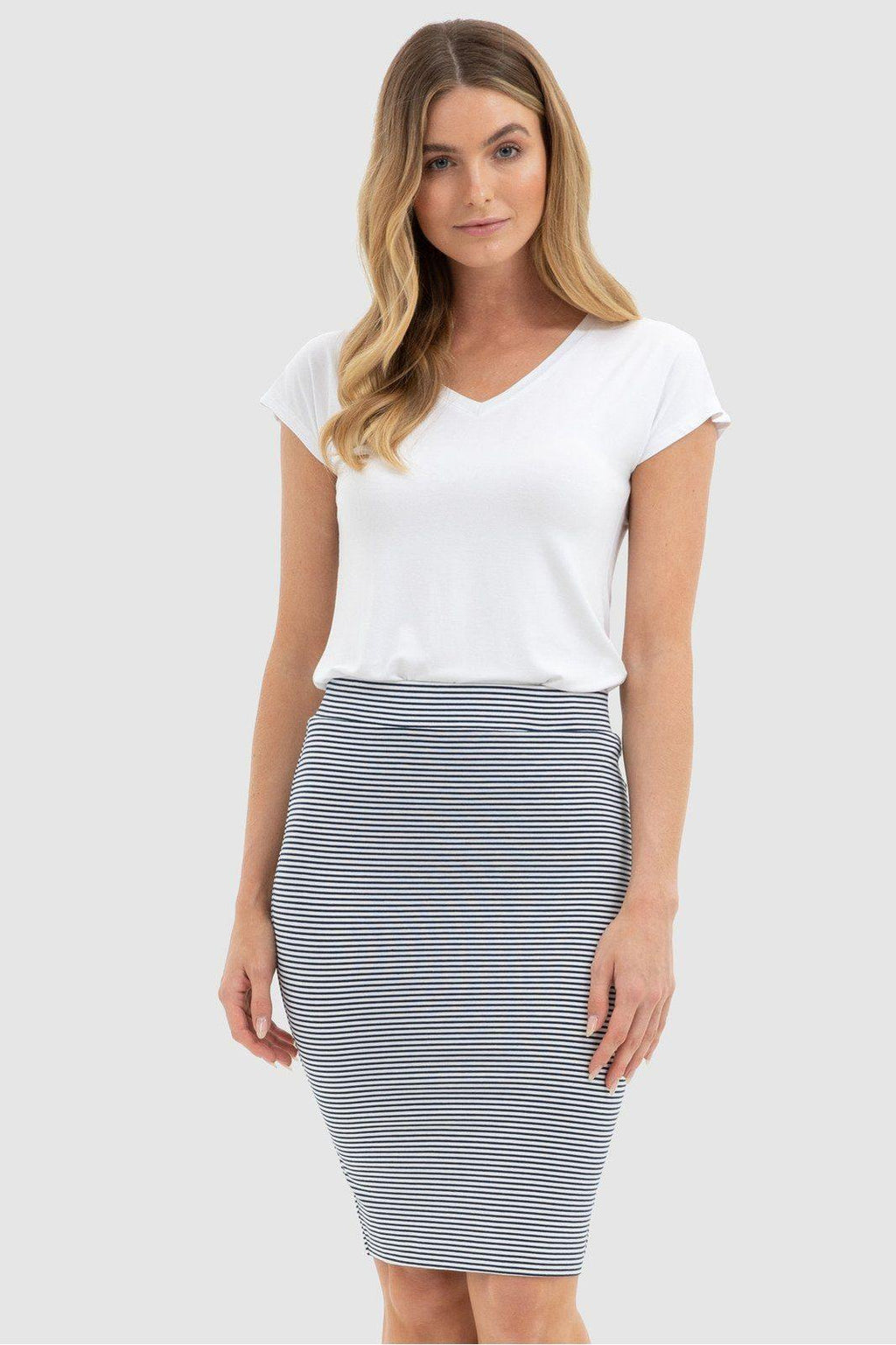 Bamboo Body Double Layer Tube Skirt - White & Navy Stripe - Weekends