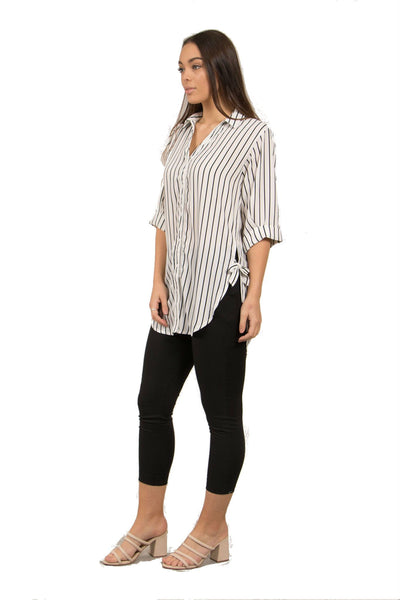 Caroline Morgan Stripe Side Tie Top T501046-Caroline Morgan-Weekends