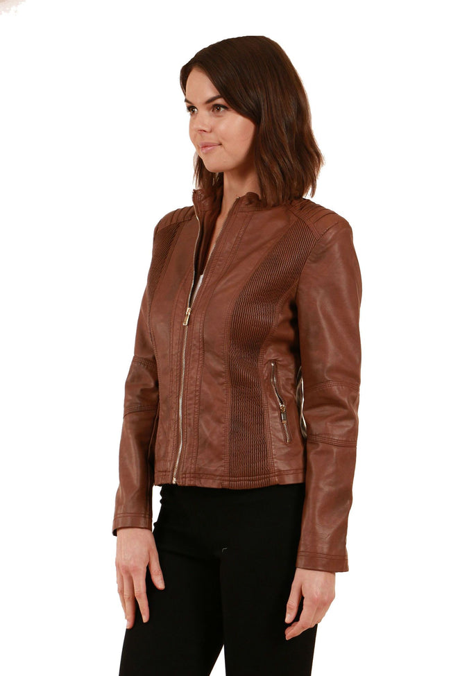Caroline Morgan Tan Biker Jacket J502394-Caroline Morgan-Weekends