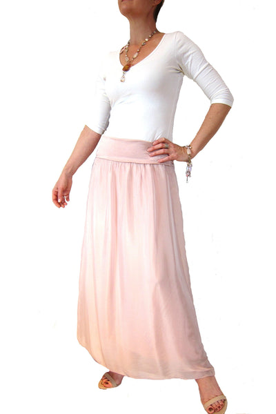 Conti Moda Elegant Long Flowing Silks Skirt L560-Conti Moda-Weekends