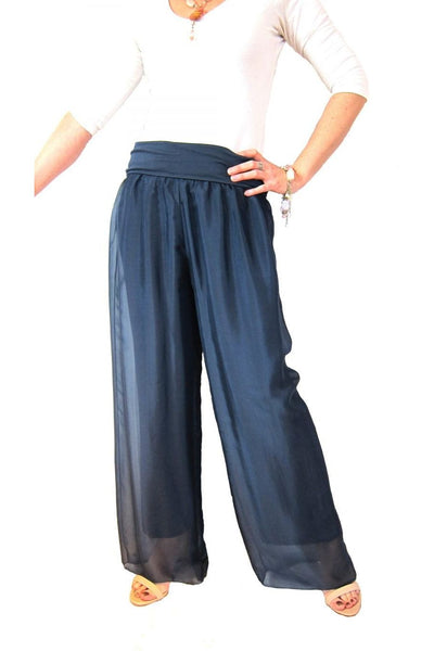 Conti Moda Elegant Silks Pant with Long Flowing Leg L387-Conti Moda-Weekends