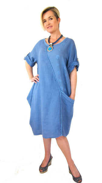 Conti Moda Fashionable Linens Dress L784-Conti Moda-Weekends