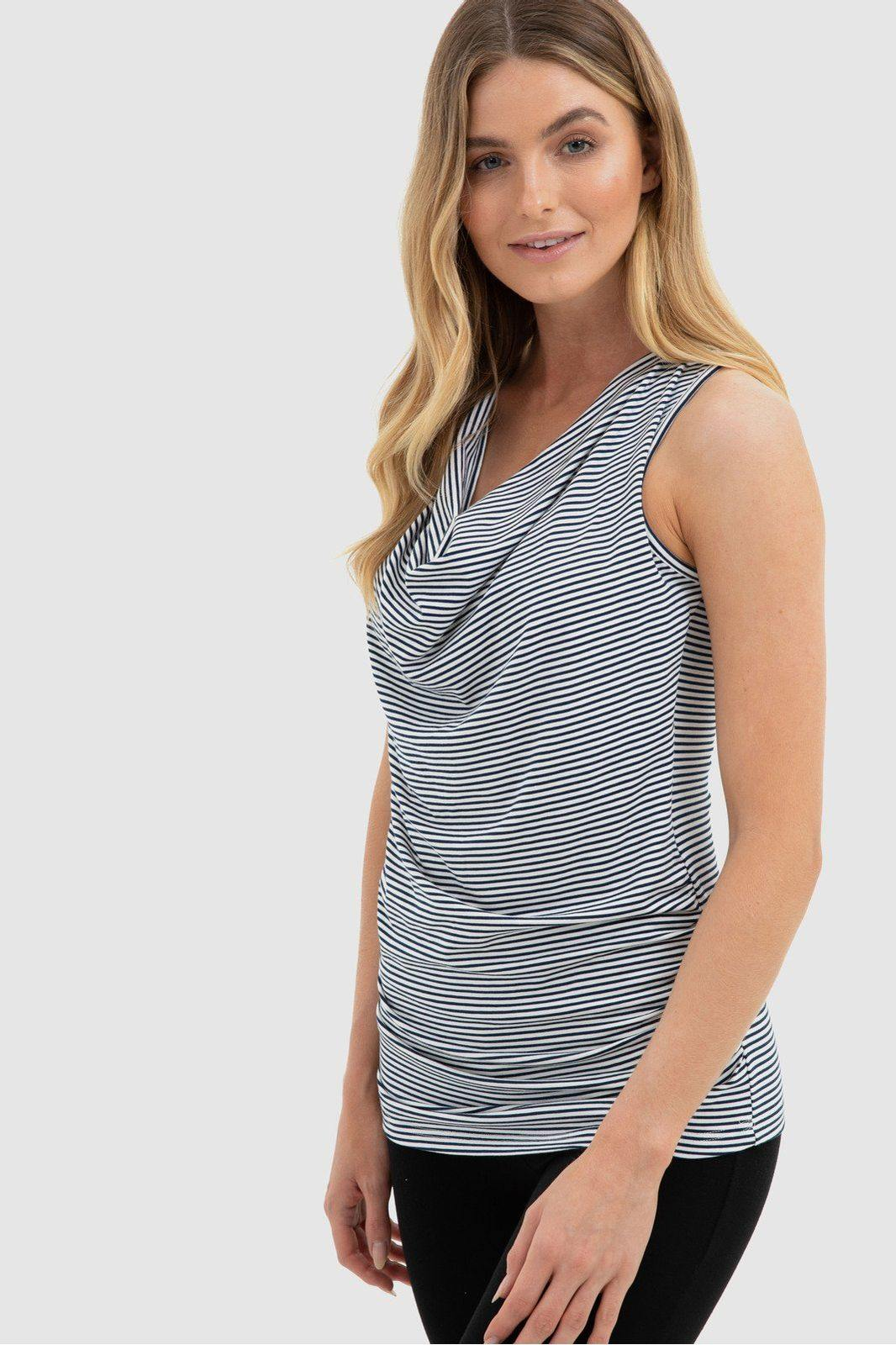 Bamboo Body  Cara Cowl Singlet - White & Navy style {{product.sku}} - buy from Weekends on 2nd Ave at {{shop.url}} or visit our shop at Second Ave Plaza on the corner of Beaufort Street & Second Avenue Mount Lawley WA