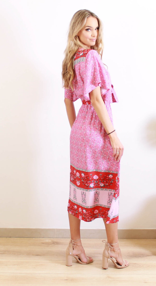 Luv Boho Rome Tie Maxi Dress L-025-Luv Boho-Weekends