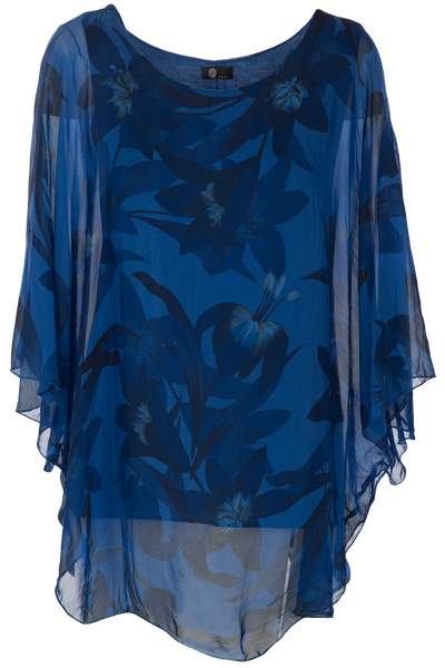 M Made in Italy - Woven 3/4 Sleeve Tunic in Cobalt 20/61234I-M Made in Italy-Weekends