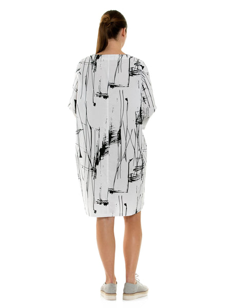 Marco Polo 3/4 Sleeves Abstract Dress YTMS99032-Marco Polo-Weekends