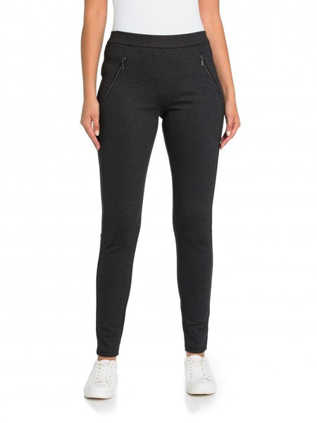 Marco Polo Black Splice Zipper Legging YTMW98032-Marco Polo-Weekends
