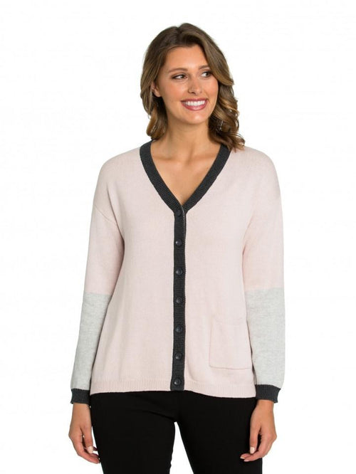 Marco Polo Blush Pink Blocked Cardigan YTMW93058-Marco Polo-Weekends