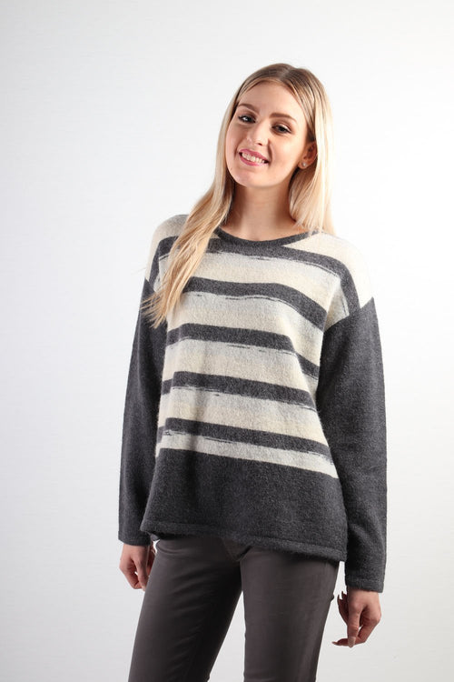 Marco Polo Long Sleeve Stripe Contrast Knit YTMW83036-Marco Polo-Weekends