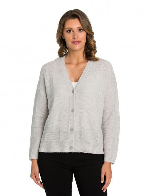 Marco Polo Smoke Brick Stitch Cardigan YTMW93061-Marco Polo-Weekends