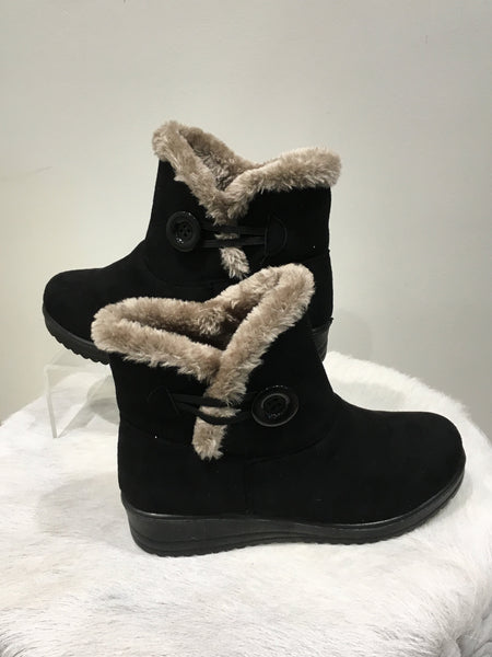 Marie Claire Fur Lined Ankle Boot - Black FW501330-Marie Claire-Weekends