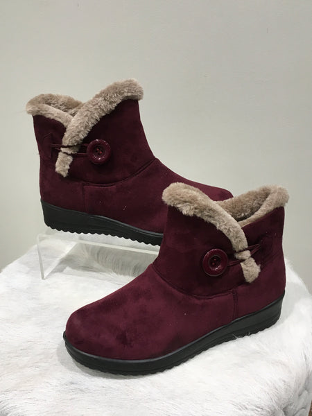 Marie Claire Fur Lined Ankle Boot - Burgundy FW66250-Marie Claire-Weekends