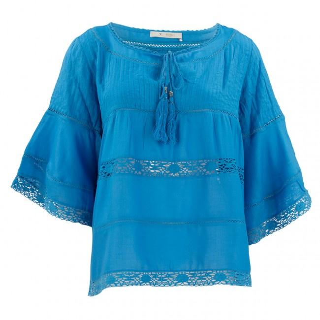 Monari 3/4 Sleeve Blue Bead Blouse in Ocean 403929MNR-Monari-Weekends