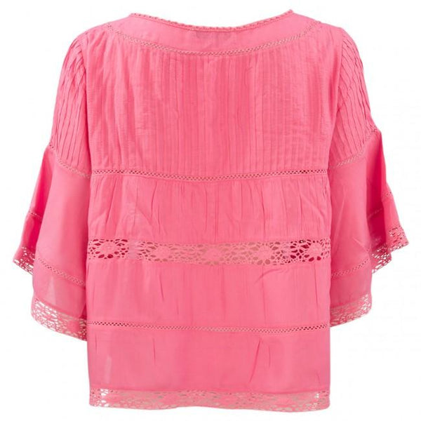 Monari 3/4 Sleeve Blue Bead Blouse in Rose 403981MNR-472-Monari-Weekends