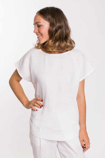 Naturals by O & J Round Neck Linen Top GA168-Naturals by O & J-Weekends