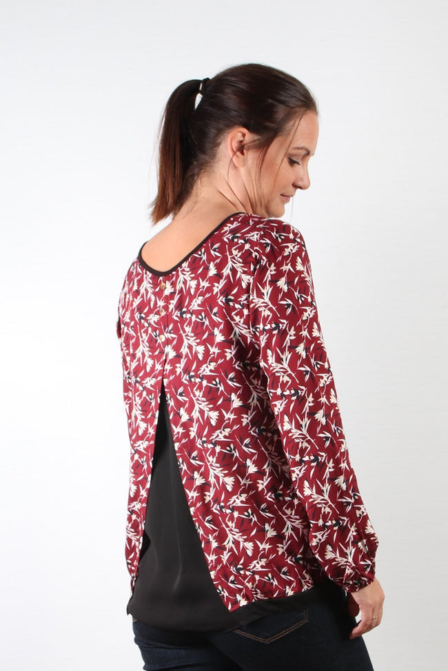 Pako Litto Burgundy Print Top T1729-Pako Litto-Weekends