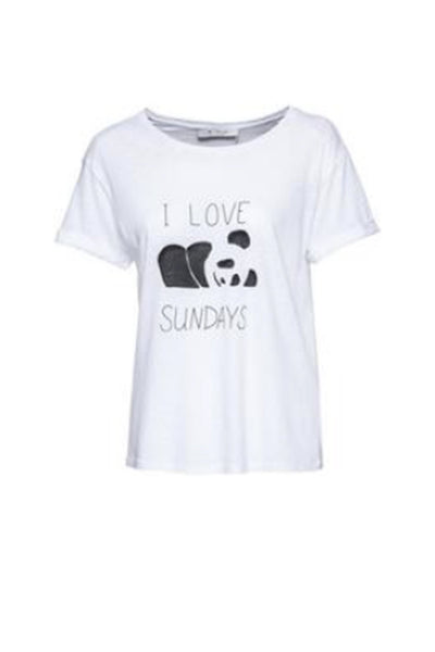 T-Shirt Panda in White by Monari 403541MNR-Monari-Weekends