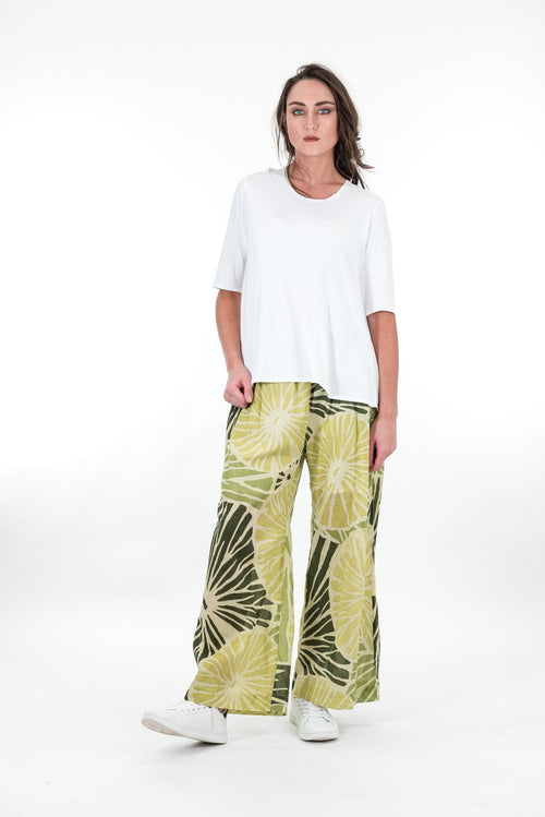 Upstream by Megan Salmon Limes Loose Wide Leg Pant U9605-Upstream by Megan Salmon-Weekends