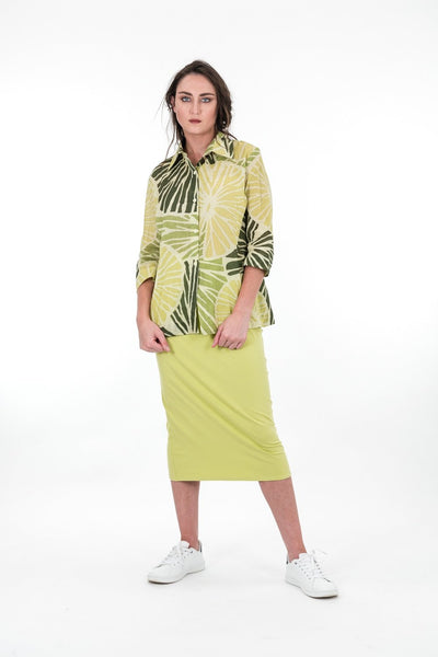 Upstream by Megan Salmon Limes Trapeze Shirt U6611-Upstream by Megan Salmon-Weekends