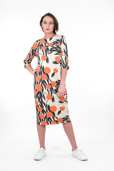 Upstream by Megan Salmon Oranges Long Board Dress U8605-Upstream by Megan Salmon-Weekends