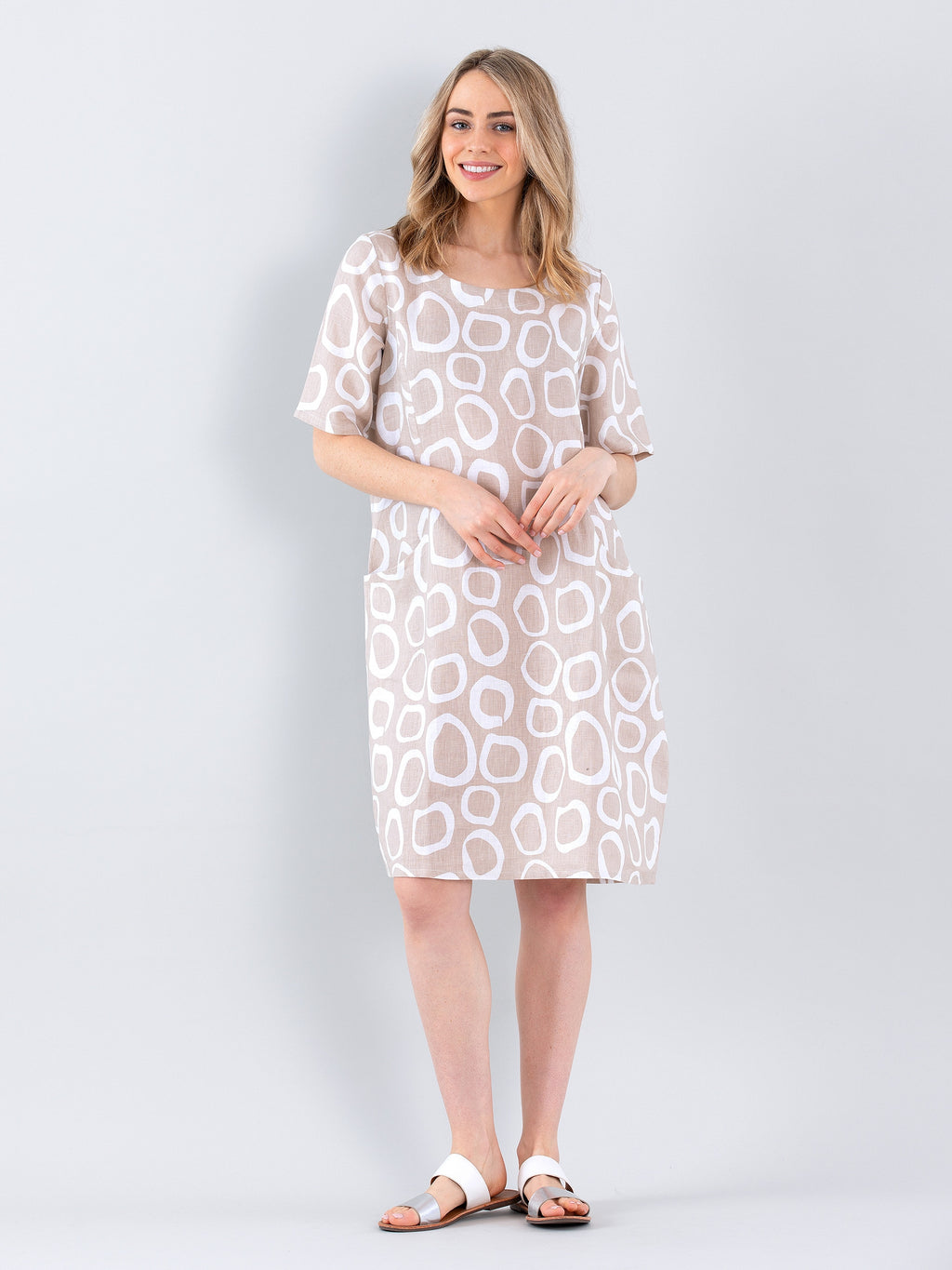 Marco Polo Spiral Spot Dress - Natural