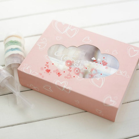 Pink Heart Push Cake Box with Clear Window
