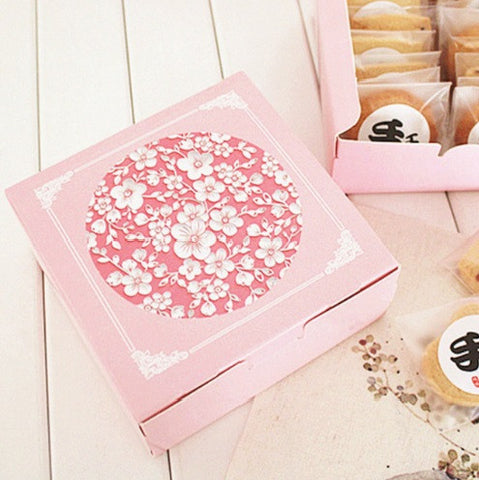 Pink Square Cookie Biscuits Gift Box