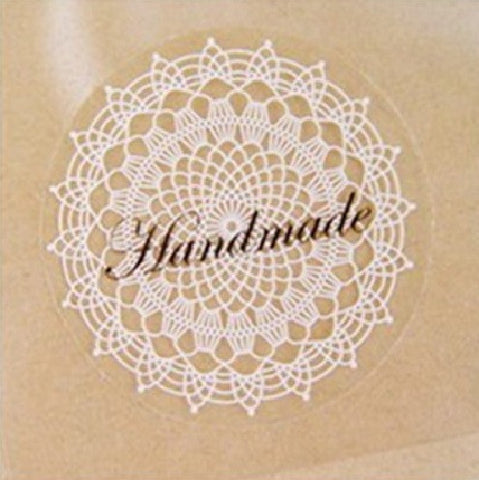 White Lace Handmade Sticker Labels