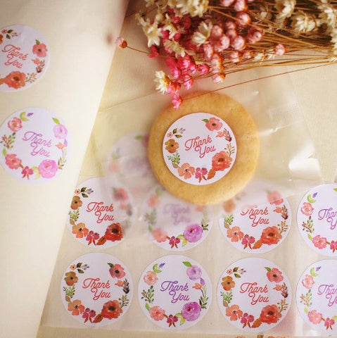 """Thank you"" Colorful Flower Sticker Labels"