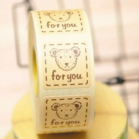 """For You"" Cartoon Bear Adhesive Sticker Labels"