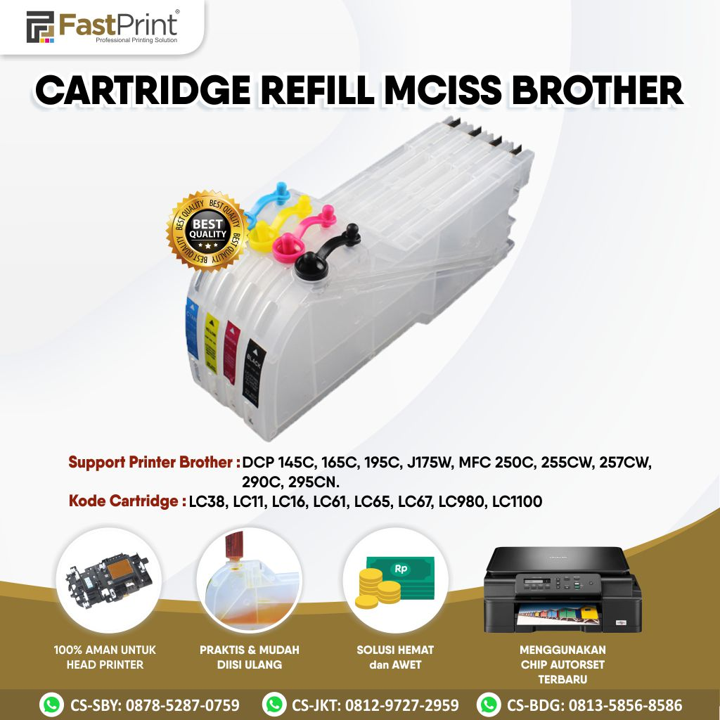 Cartridge MCISS Refillable Brother DCP 145C, 165C, 195C, J175W, J125, J315W, J515W MFC J220, J265W, J410, J415W, 250C, 255CW, 257CW, 290C, 295CN