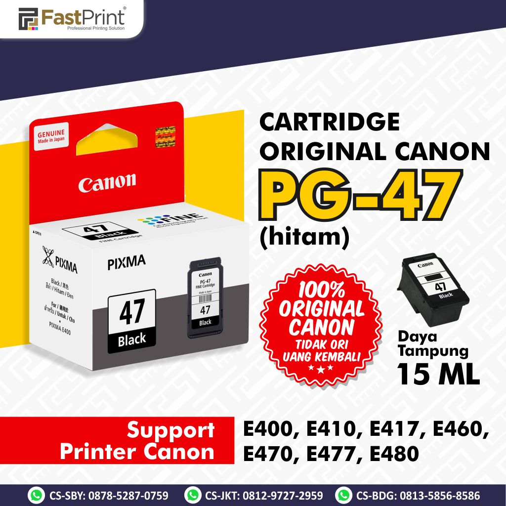 Cartridge Original Canon CL 57 CL57 Color PG 47 PG47 Black Printer Canon E400 E410 E460 E477