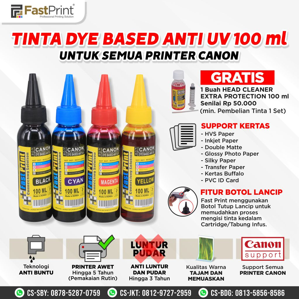 Tinta Dye Based Anti UV Canon 1 Set