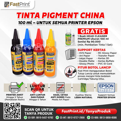 Tinta Pigment Art Paper China Epson 1 Set