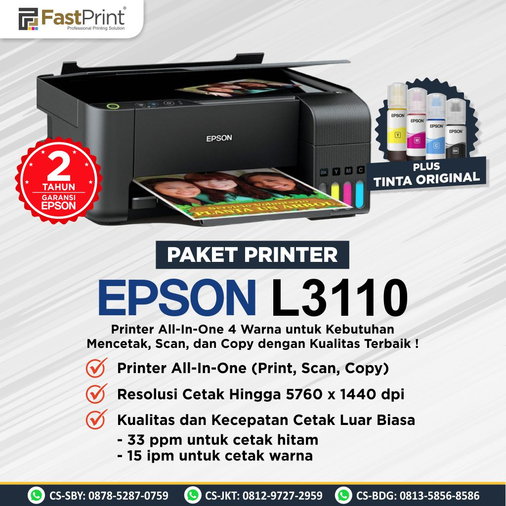 Printer Eco Tank Epson L3110 All In One Print Scan Copy Inkjet Printer