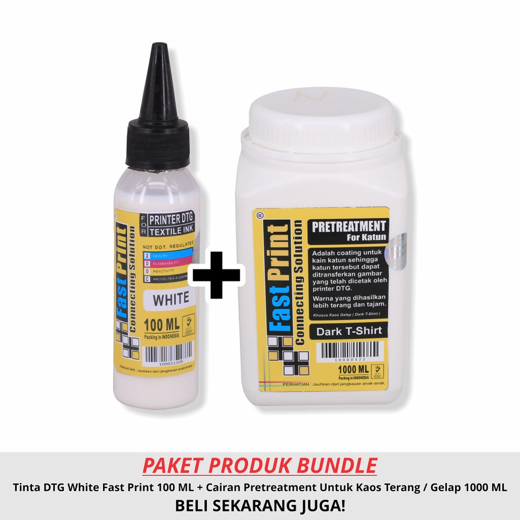 Paket Tinta Textile Printer DTG White 100ML & Cairan Pretreatment 1000ML