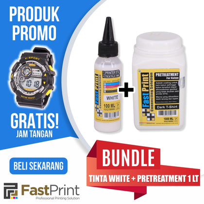 Tinta Textile Printer DTG White 100ML & Cairan Pretreatment 1000ML BONUS