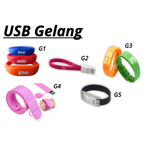 Flashdisk Model Gelang Unik Custom Desain Logo Text