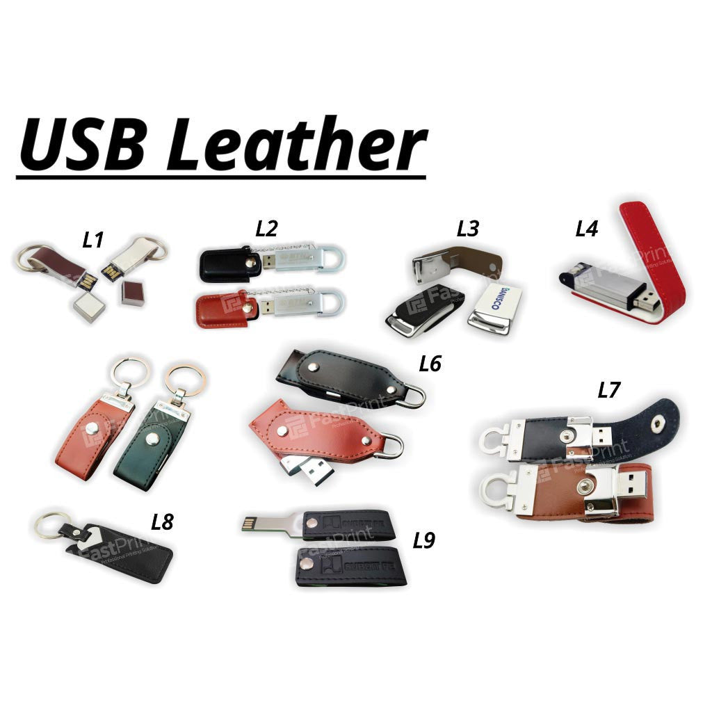 Flashdisk Model Kulit / Leather Custom Desain Logo Text