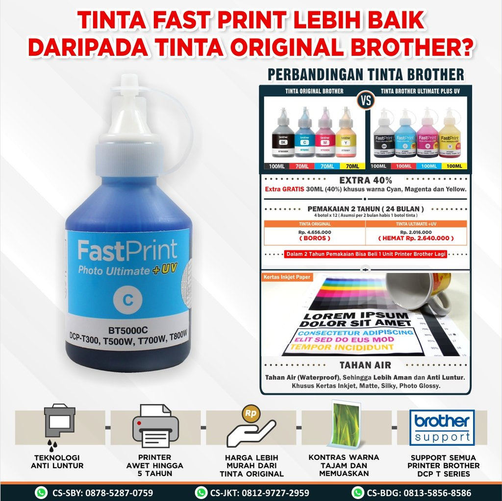 Tinta Brother T300 T500 T700 DCP J100 J105 J200 Ultimate Plus UV