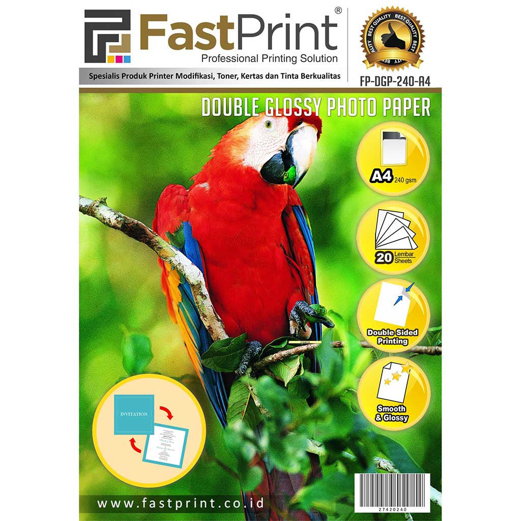 Kertas Double Side Glossy Photo Paper Fast Print A4 240 Gram