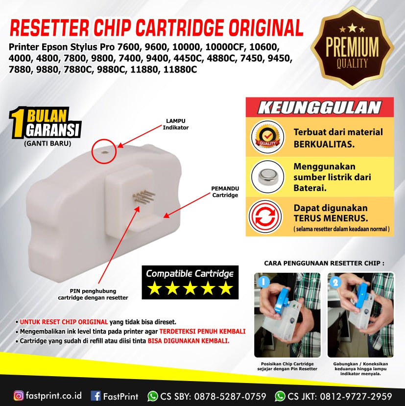 Resetter Chip Cartridge Original Printer Epson Stylus Pro 7600, 9600, 10000, 10000CF, 10600, 4000, 4800, 7800, 9800, 7400, 9400, 4450C, 4880C, 7450, 9450, 7880, 9880, 7880C, 9880C, 11880, 11880C