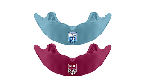 Front on picture of mouthguard design for NSW Rugby League team, and front on view of Queensland Maroons mouthguard design.