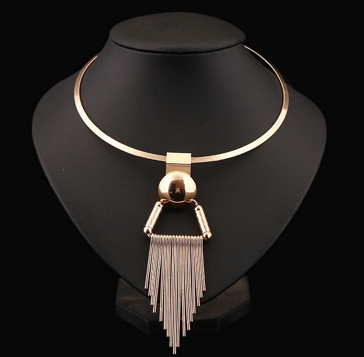 Unique Gold Choker Necklace with Metal Tassel - Order Today!